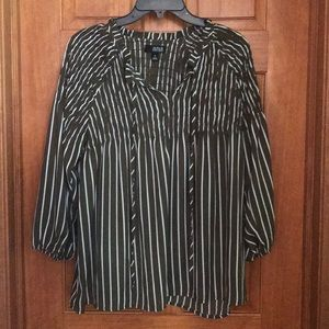 Medium Olive and White Stripped Baby Doll Top